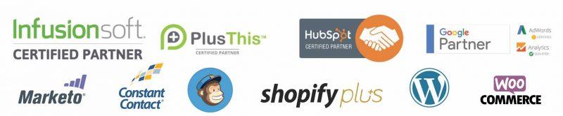 Marketing logos infusionsoft shopify marketo ecommerce mailchimp hubspot